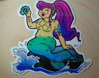"Chubby Mermaid - 5"" x 5"" Vinyl Sticker"