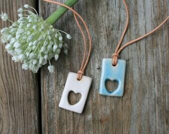 heart pendant, open heart necklace, summer jewelry, porcelain pendant, handmade jewelry, love heart, modern, boho jewelry, turquoise, white