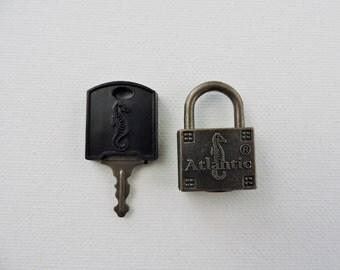 Vintage Atlantic Lock with Key - Vintage Lock and Key Set - Seahorse Lock