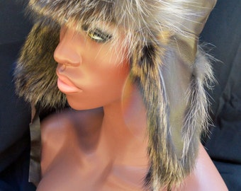Russian Ushanka Hat BROWN Leather Canadian Raccoon FUR Trapper Men Women Unisex Arctic Store®