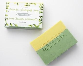 Coriander & Lemongrass soap with ground lemongrass and essential oils