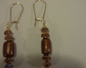 gold filled kidney gf wire earrings w/ gold coral, fossil coral, vermeil bead caps/beads, swarovski crystals 5.00 coupon code free shipping