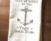 Customized Lake or Beach House Flour Sack Towel