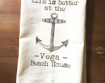Customized Lake or Beach House Flour Sack Towel