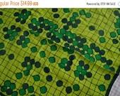 MEMORIAL DAY SALE Green Dot Vera Silk Scarf/Vintage 1960s/Bingo Board Grid Scarf