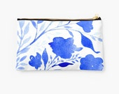 Accessory Pouch, Gift, Makeup Bag, Bridesmaid Gift, Blue Floral Watercolor, Original Art, Two Sizes