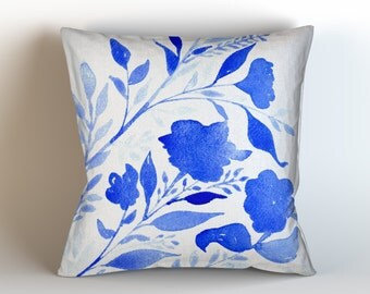 Royal Blue Floral & Cream Background, Throw Pillow Cover, Original Watercolor Artwork, Super Soft Velveteen 16x16. 18x18. 20x20, 22x22