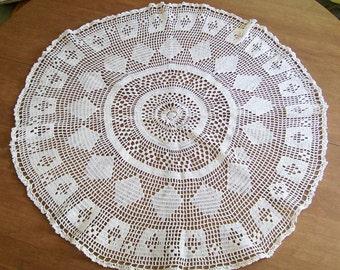 "Vintage Crochet TABLE TOP DOILY Centerpiece Runner White Round 33 1/2"" Diamond Handmade"