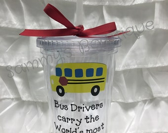 Bus deiver tumbler personalized with lid and straw
