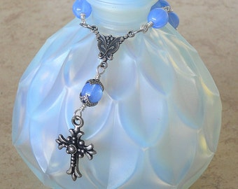 Blue Automobile Rosary Rear View Mirror Opalescent Blue Rosary Car Rear-view Mirror Decade Czech Glass Beads Silver Plated (BORVMR-030316)