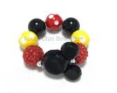 Toddler or Girls Chunky Mouse bracelet - Black Mouse Bracelet - Red, Black, Yellow and White Polka dot Bracelet - Mouse Polkadot bracelet