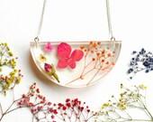 Pink Natural Pressed Flower Necklace - botanical garden forest terrarium