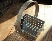 Woven Copper Basket with wonderful well developed oxidized patina in Good Vintage Condition which is both functional and decorative
