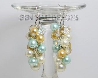 Ivory, Aqua & Champagne Cluster Earrings, Pearl Cluster Earrings, Ivory/Aqua Chunky Earrings, Pearl Chunky Earrings, Ivory n Aqua Wedding
