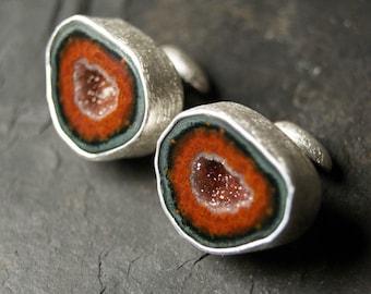 Burnt Sienna Geode Cufflinks in Sterling Silver