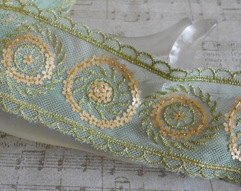 Green Gold Floral Sequined Ribbon