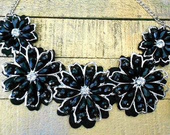 RESERVED for ANA Black Beaded Rhinestone Collar