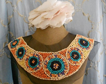 Multi Colored Wood Beaded Applique