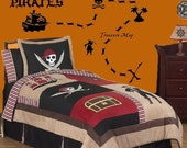 SALE HUGE Pirate Theme Wall Decals Set Includes Ship Pirates Palm Tree & MORE