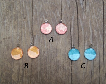 Color Droplets, 10mm Nickle free bezels, effects paint and resin, jewelry supply, earring charms pairs