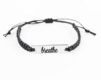 Breathe Bracelet, Word Bracelet, Inspiration Bracelet, Inspiration Jewelry, Stainless Steel, Gift for Her, Bar Charm, Friendship Bracelet
