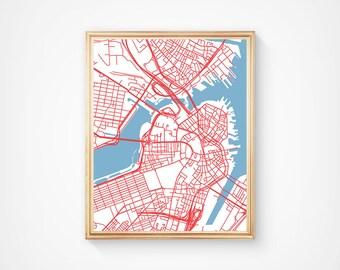 Boston Map Art Print, Boston City Map of Boston Art Poster of Boston State Map Boston Massachusetts Art Grad Gift Dorm Art