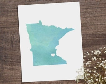 Minnesota or ANY STATE Map - Custom Personalized Heart Print - I Love Minneapolis - Hometown Wall Art Gift Souvenir - Watercolor Series
