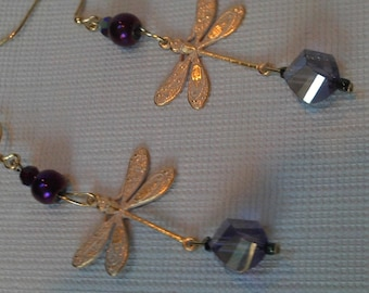 Gold Vermeil Dragonfly Earrings, Lilac Crystal and Gold Vermeil Dragonfly Earrings, Long Dragonfly Earrings, Gold & Purple Crystal Earrings