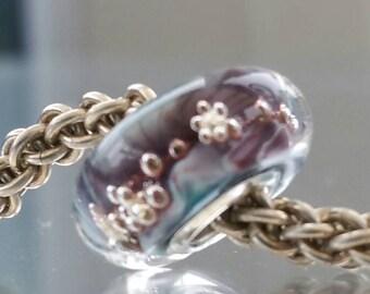 Cosmic - Bubbles - large hole bead, european charm bead bracelets, SRA UK, Turq/Purple