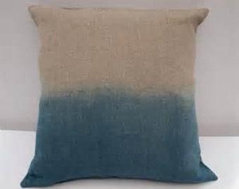 Ombre Pillow, Dip Dyed Pillow, Linen Pillow, Blue Pillow Cover, Pillow Sham