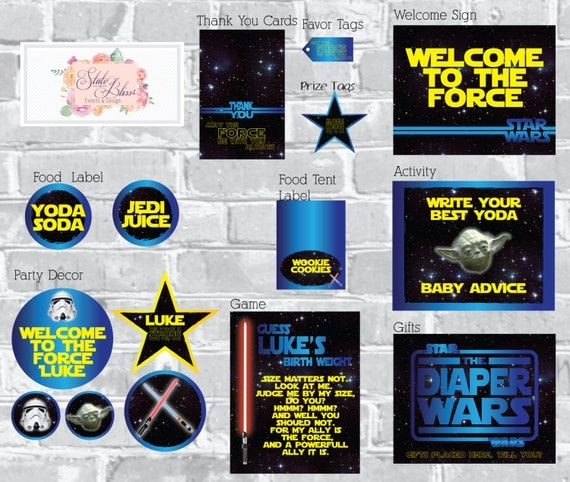 Star Wars Baby Shower Printable Party Pack