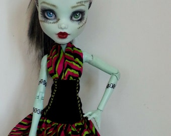 17 inch large monster high dress: neon jungle