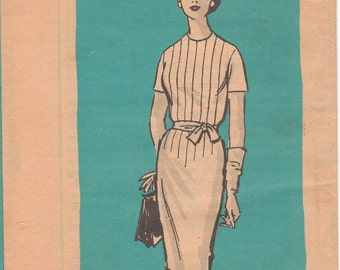 1960s - Mail Order 4182 Vintage Sewing Pattern Size 16 1/2 Bust 37 Short Sleeve Slim Skirt Dress Darts