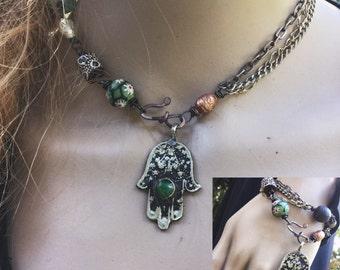 Boho choker necklace and bracelet wrap with vintage Hamsa   choker necklace, bracelet wrap, bohemian gypsy