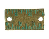 5 Bronze Connectors - Antique Bronze - Green Patina Ruler - 21x12mm - Ships IMMEDIATELY from California - BC790