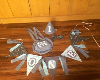 Grey White And Blue Baby Boy Birthday Banner & Smash Cake Outfit. Diaper Cover With Overall Suspenders Tie and Hat Photo Prop