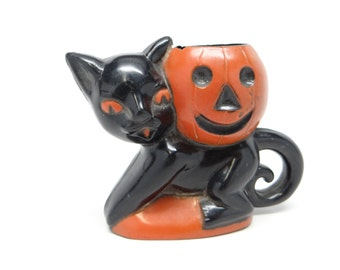Vintage 1950's Halloween Candy Container, Rosbro Black Cat Holding a Jack-o-lantern