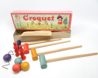 Antique German Croquet Game, with Lithograph, Child's Toy Game