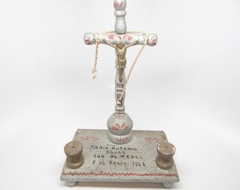 Vintage Crucifix Shrine, Religious Folk Art, Hand Made Altar