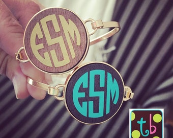 Personalized Monogram Wooden Disc Bracelet Bangle