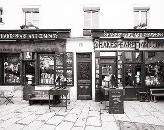 Paris Photograph, Shakespeare and Company, Black and White Photo, Travel Fine Art Photograph, Large Wall Art, French Wall Decor
