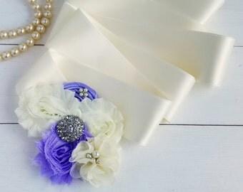 Lavender and Orchid Bridal Sash, Flower Girl Sash, Maternity Sash, Bridal Sash Belt, Custom Sash, Bridesmaid Sash, Flower Sash