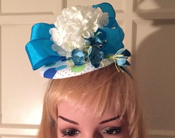 Turquoise & White KY Derby Fascinator Hat - 2016
