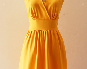 Mustard Yellow Bridesmaid Dress Vintage Inspired Fit and Flare Mustard party Dress, Wedding Party Dress, Mustard Tea Dress - XS-XL,custom