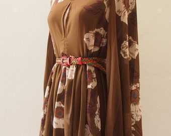 Boho Dress, Maternity Dress Bohemian Tunic Dress, Chiffon Olive Dress, Bell Sleeve Boho Floral Dress Over Size Camping Girl Look US4-US8