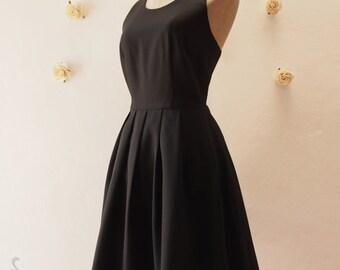 Flash Sale Little Black Dress, Women Halloween Party Dress, Black Bridesmaid Dress,Black Dancing Wedding Summer Dress, Black Vintage Dres...