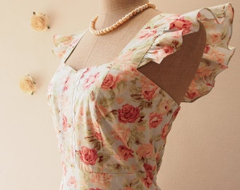 Olivia - Blue Floral Dress Coral Floral Summer Dress Tea Dress Floral Party Dress Sundress Rustic Wedding Bridesmaid Dress-XS-XL, Custom
