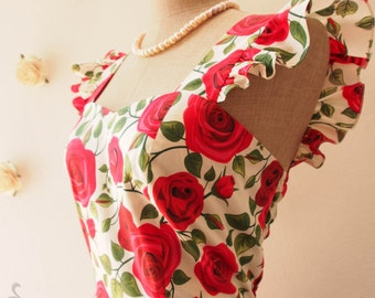 Floral Bridesmaid Dress Ruffle Sleeve Tea Party Dress White with Red Rose Red Floral Spring Summer Sundress SS2016-XS-XL, custom