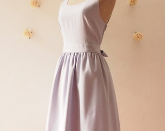 Dress in Gray Dress Back Bow Gray Party Dress Gray Summer Dress Cheap Bridesmaid Dress Party Dress Wedding Bridal Shower Dress -XS-XL, Custo