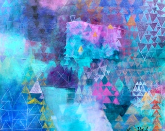 "Geometric Abstract Painting, Teal, Triangles, Colorful, Vibrant, ""Just Before Creation"" 20x24"""